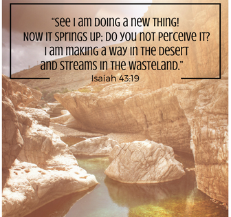 """""""See I am doing a new thing! Now it springs up; do you not perceive it- I am making a way in the desert and streams in the wasteland."""" Isaiah 43-19 (2)"""